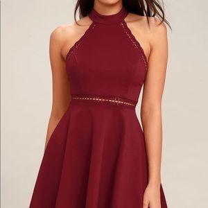 Lulu's NWT Burgandy Lace Skater Dress